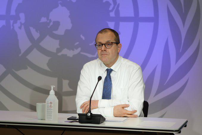 △图为世卫组织欧洲地区主任汉斯·克鲁格在4月23日的新闻发布会上