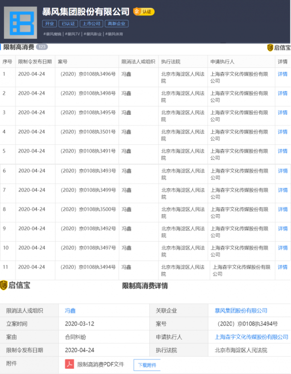暴风集团股份有限公司及该公司冯鑫被限制高消费