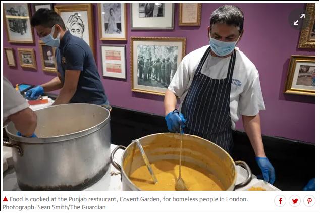 玛安的餐馆为流浪汉准备食物 图片来源:《卫报》报道截图