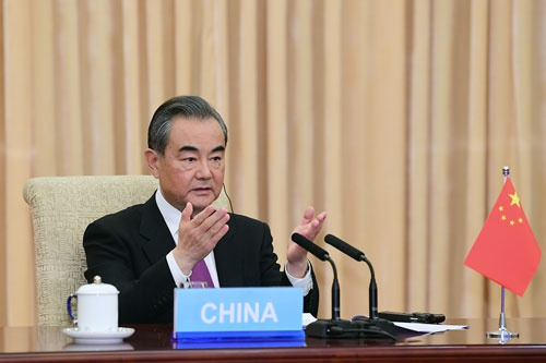 王毅出席金砖国家应对新冠肺炎疫情特别外长会图片