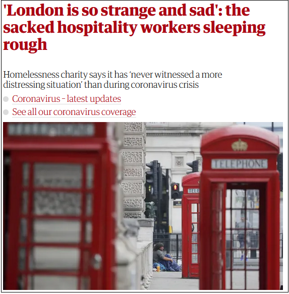 伦敦中心城区威斯敏斯特市的一名流浪汉 图片来源:《卫报》报道截图