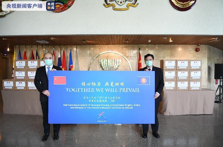 广西自治区政府对东盟十国使团捐赠防疫物资图片