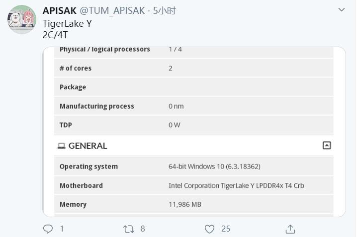 英特尔11代酷睿Y系列处理器曝光:i3仍为2核4线程