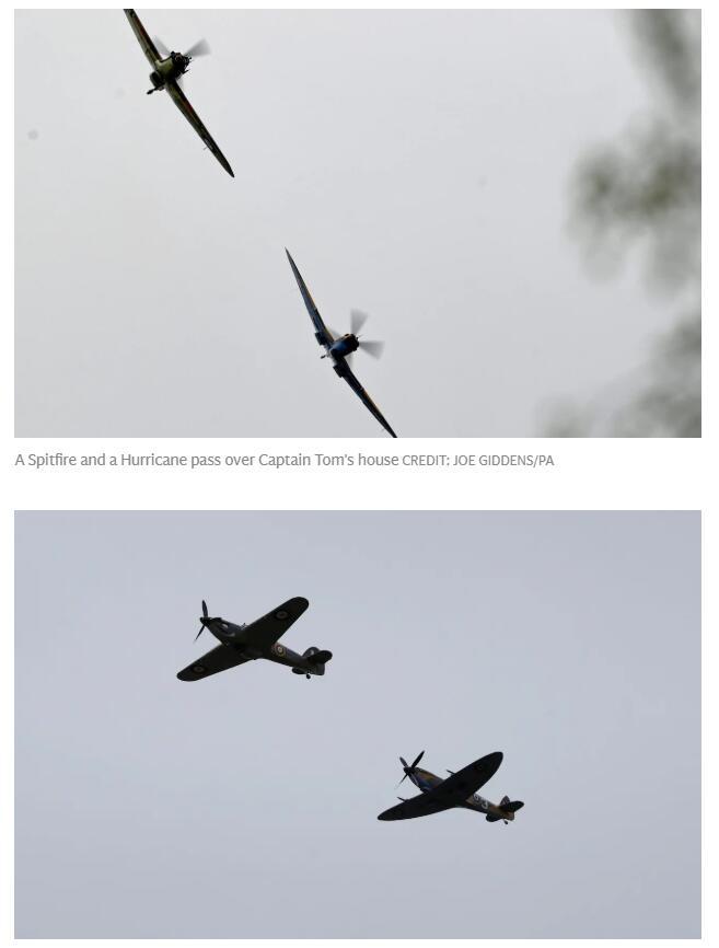 (英国皇家空军飞机飞过汤姆•穆尔房子上空 图源:《每日电讯报》)