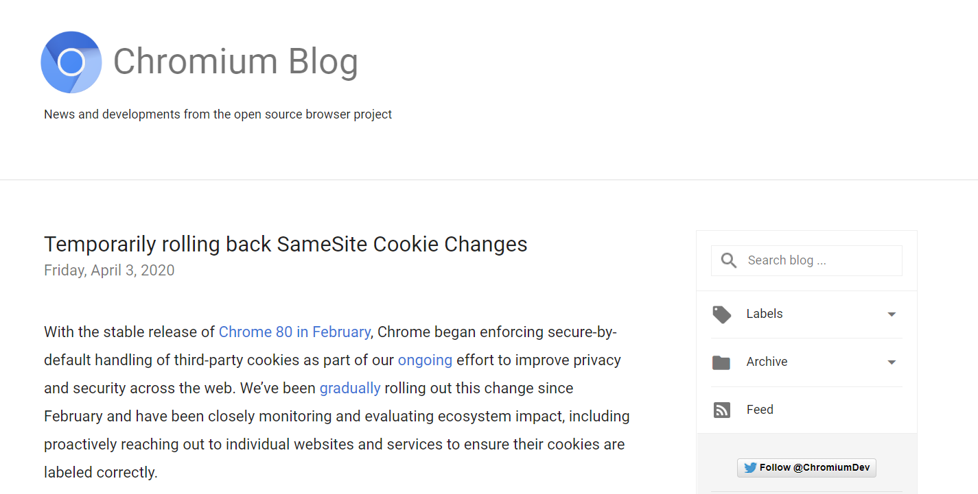 谷歌宣布暂时回滚Chrome隐私功能 以确保疫情期间网站稳定性