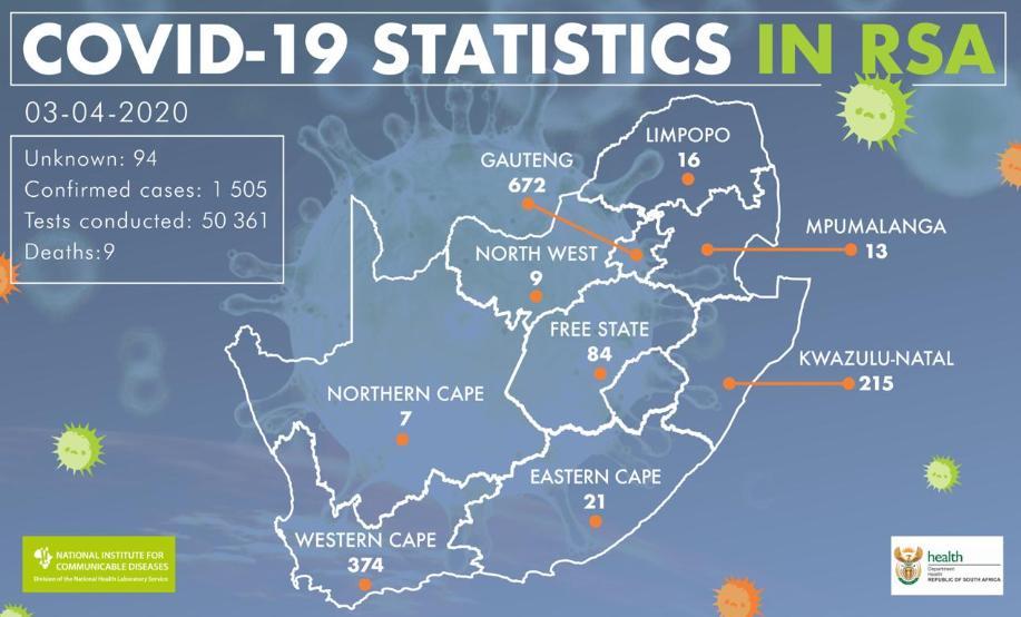 △南非新冠肺炎确诊病例分布图(图片来源:南非疾控中心)