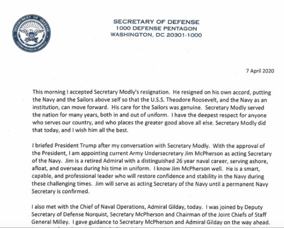 美国防部长接受莫得利辞职的信函。