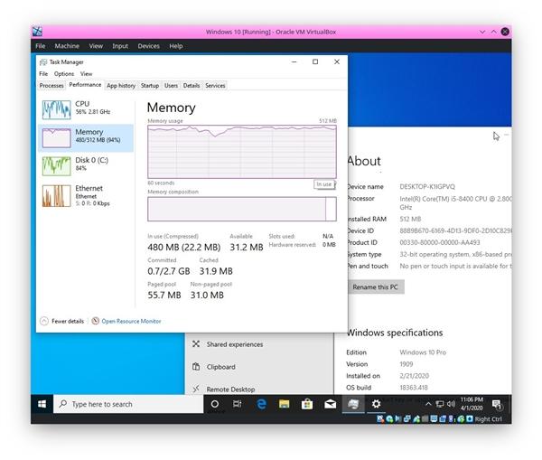 无聊实验:192MB内存照样能跑Windows 10 就是卡得不像样