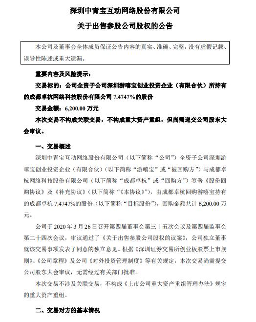 中青宝子公司出售持有成都卓杭股份 共计6200万元