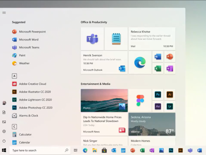 微软在最新的推文中展示了新的Windows 10开始菜单