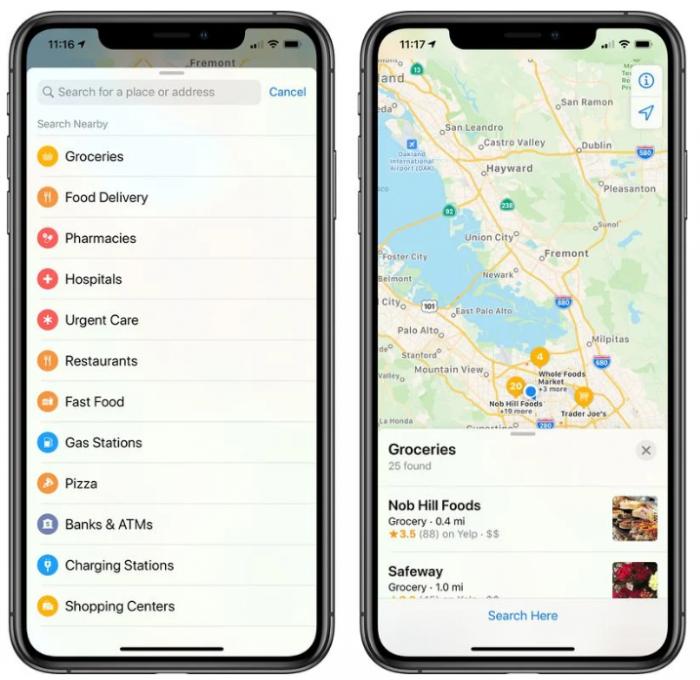 苹果地图更新搜索功能 重点关注超市、食品快递、药店和医院