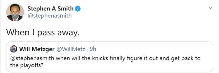 尼克斯何时能重回季后赛?A-史密斯:当我去世时