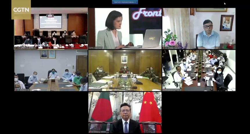 △中国、孟加拉国代表通过视频集会交换抗击疫情经验