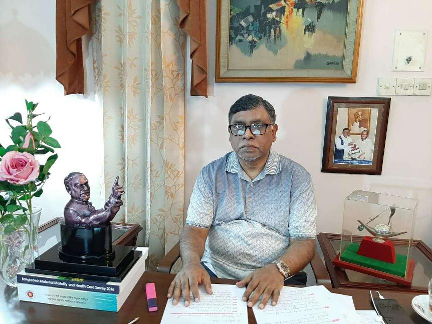 △孟加拉国卫生和家庭福利部部长扎西德·马利克(Zahid Maleque)通过视频连线介入集会