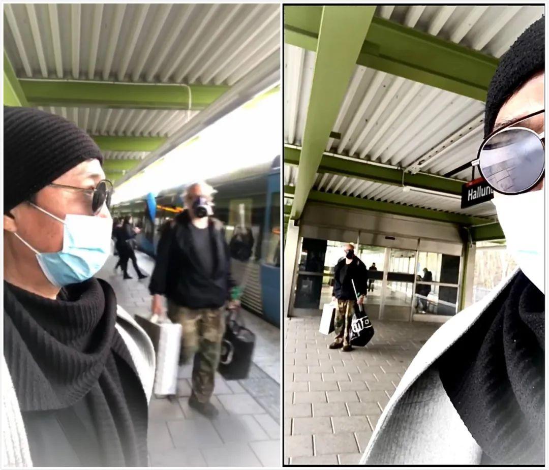 赵燕国彰在火车站,身边路过的一名行人脸上戴着防毒面具。