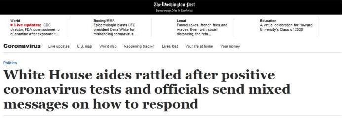 白宫内部备忘录鼓励通勤,但主管要求工作人员来白宫工作|华盛顿邮报