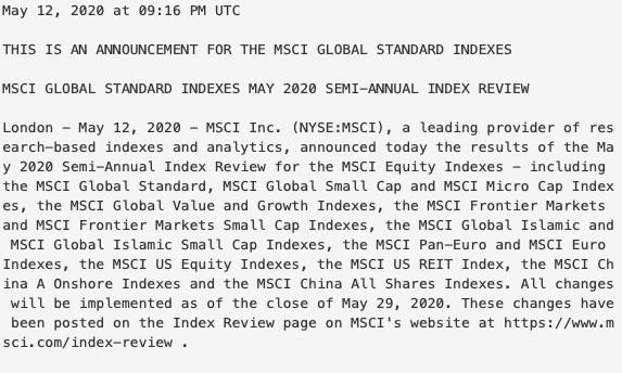 MSCI半年度审议公布!A股权重暂未有提升 中公教育等纳入新兴市场指数