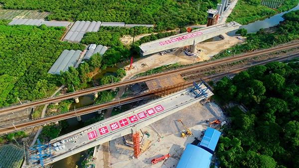 天富:建施工赣深高铁跨京天富九铁路转图片