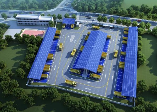 天富:国首天富个大规模工程车充电站开工图片