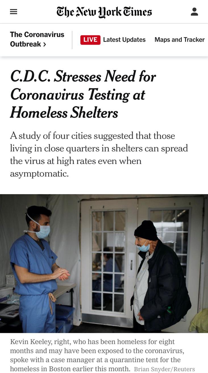 △《纽约时报》报道指出,无症状传播正在造成无家可归者大面积群体感染事件
