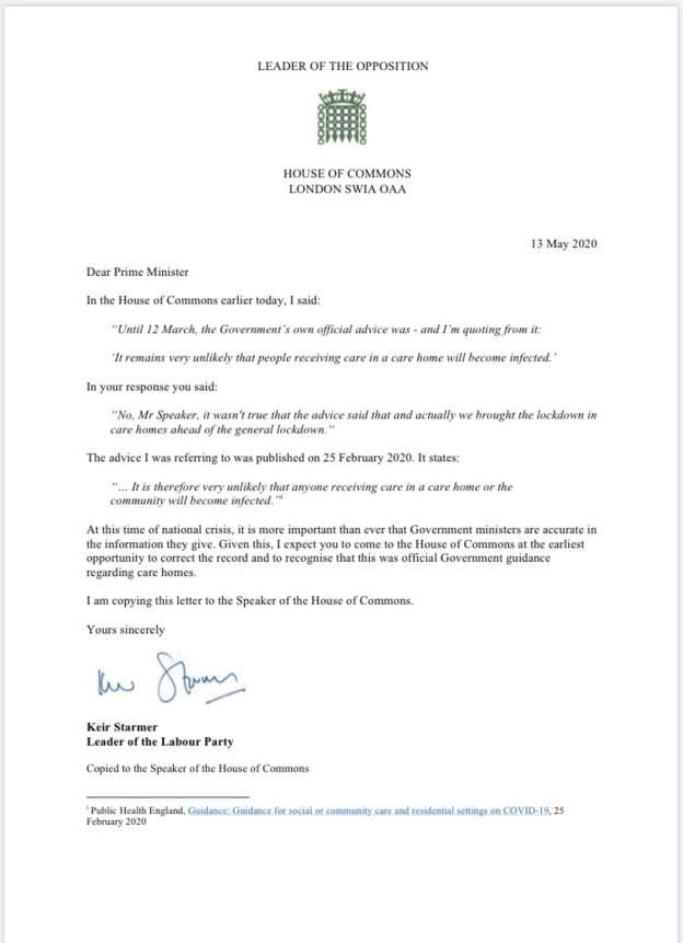 △英国工党领导人基尔·斯塔默的信件