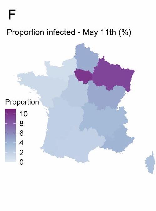 △法国感染比例地图,来自巴斯德研究所