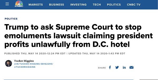 △CNBC新闻报道,特朗普的私人律师表示要将此案提交至最高法院寻求复审