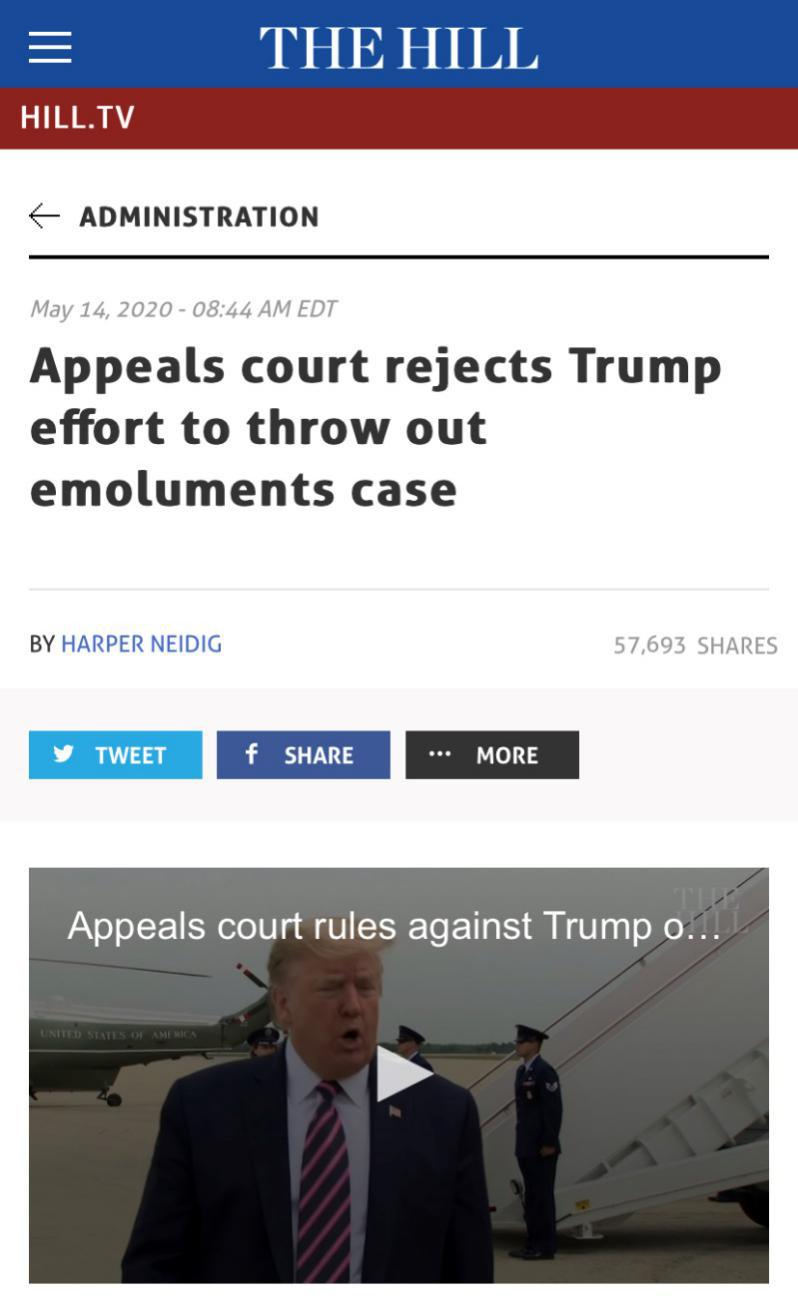 △《国会山报》报道,美国第四巡回上诉法院以9比6裁定重启诉讼案