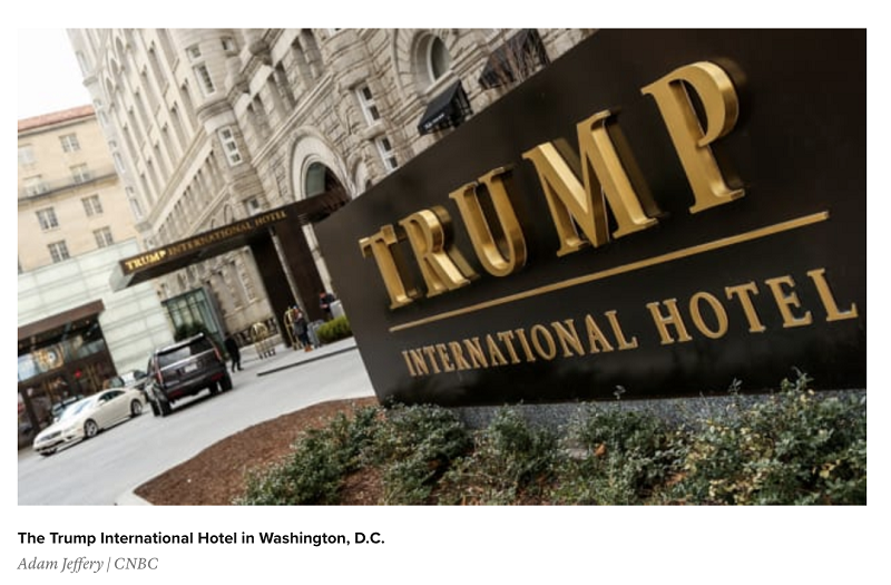 △CNBC新闻报道,特朗普国际酒店抢走华盛顿特区其他酒店业务,损害地区利益