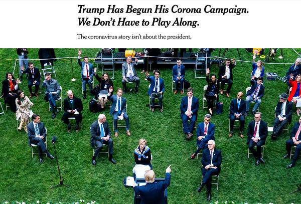 """(纽约时报标题:《特朗普开始了他的""""新冠竞选"""",我们没必要随之起舞》)"""