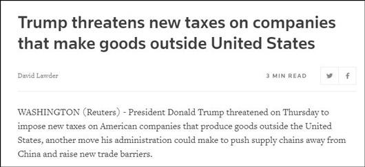 路透社14日报道截图 特朗普威胁对境外的美国企业征税