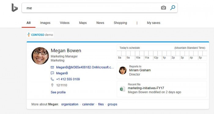 [图]微软Bing页面新增WORK子标签页 提供内网搜索结果