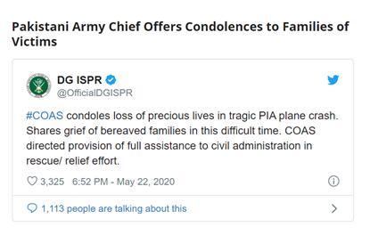 巴基斯坦陆军参谋长向坠机事故遇难者家属表示慰问