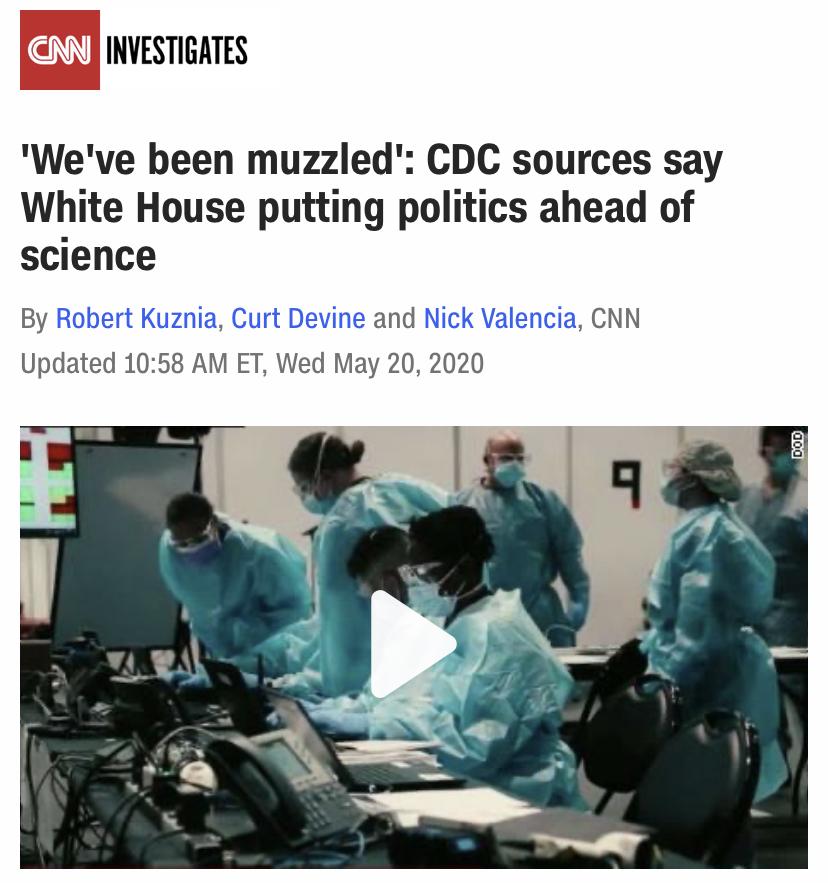 △CNN报道,有口难言,疾控中心人士称白宫将政治凌驾于科学之上