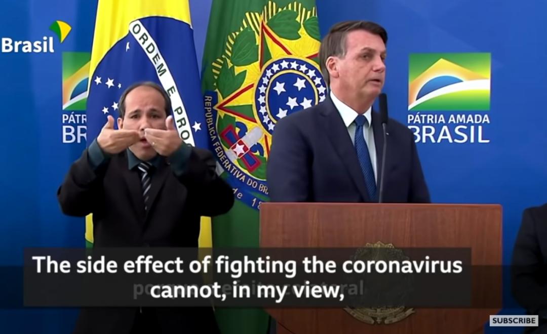 巴西总统博索纳罗就新冠疫情发表讲话。(图片来源:视频截图)
