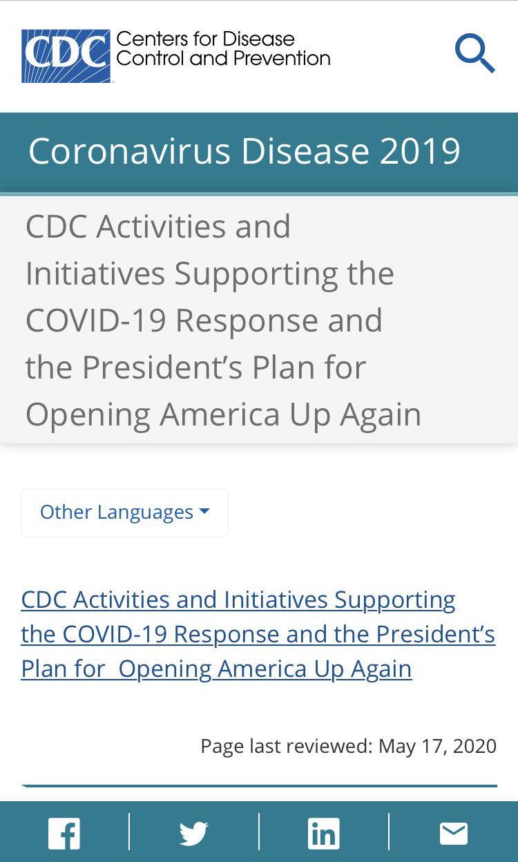 """△美国疾病预防与控制中心(CDC)官网发布《支持COVID-19抗疫和总统的""""重启美国计划""""倡议书》"""