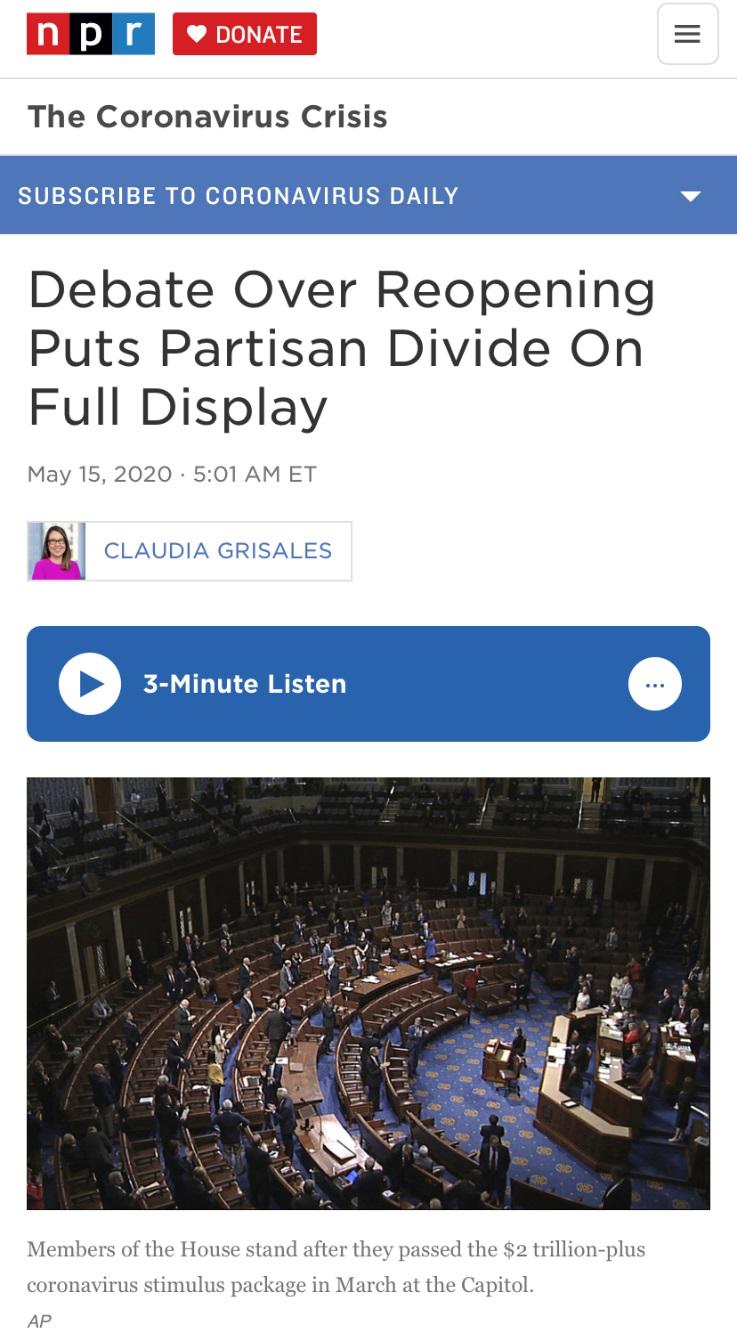 △全国公共广播电台(NPR)报道,关于重启的辩论使党派分歧愈演愈烈