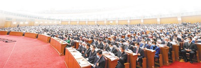 5月22日,十三届天下人大三次集会在北京人民大礼堂开幕。新华社记者 申 宏摄