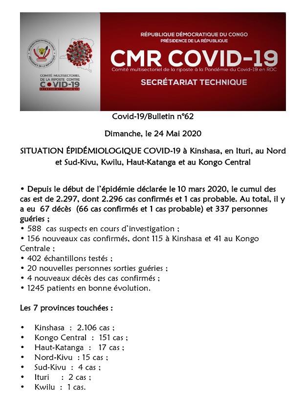 刚果(金)新增156例新冠肺炎确诊病例 累计确诊2297例
