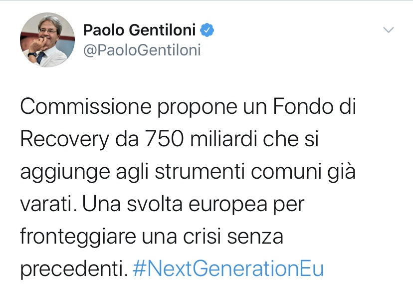 欧盟委员会提议设立7500亿欧元经济复苏基金