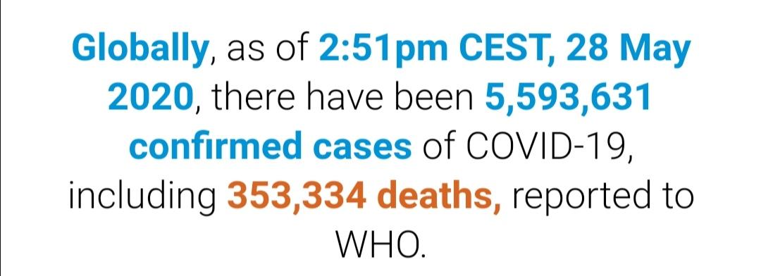 世卫组织:全球新冠肺炎超过559万例