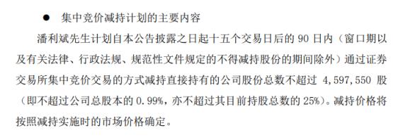 国发股份股东潘利斌拟减持股份 预计减持不超总股本0.99%