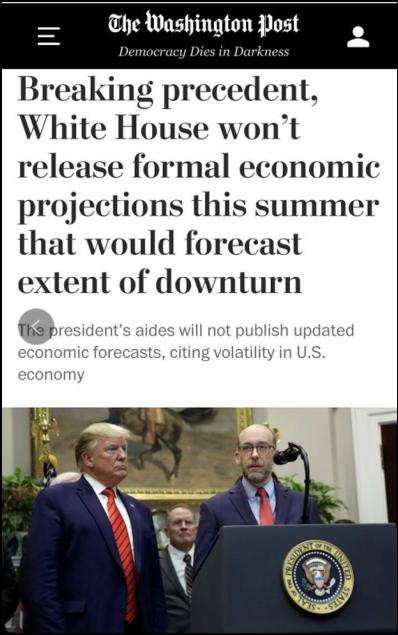 △《华盛顿邮报》报道,虽然美国每年2月份公布联邦预算时会涵盖对全年和未来经济的预估,但新冠疫情席卷全球已对经济造成巨大影响,不可能再只靠半年前的预测行事