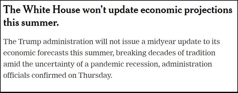 △《纽约时报》指出,白宫在今年夏季的年中评估中取消经济预测,堪称史无前例