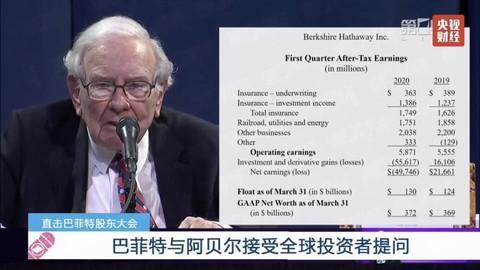 巴菲特直播股东大会:一季度伯克希尔·哈撒韦股票亏损超540亿美元