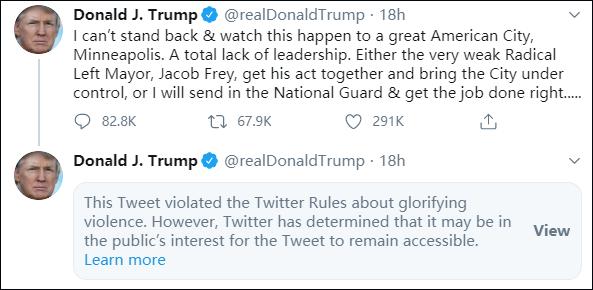 特朗普推文被推特屏蔽