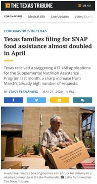 """△《德克萨斯论坛报》报道,申请加入""""养补充援助计划""""的人数在四月几乎翻了一番"""