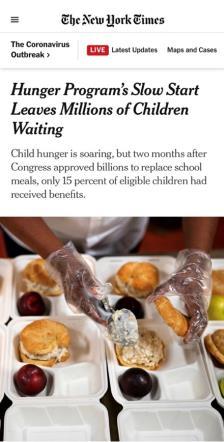 """△《纽约时报》报道,""""电子福利转账计划""""实施缓慢,使百万孩童饱受饥饿之苦"""