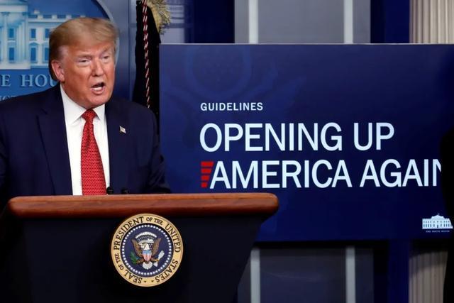 """△特朗普宣布""""重启美国""""计划"""