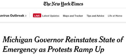 """△《纽约时报》5月1日发布""""密歇根州州长恢复'紧急状态'""""的相关报道"""